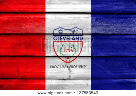 Flag Of Cleveland, Ohio, Painted On Old Wood Plank Background