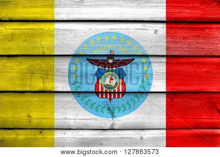 Flag Of Columbus, Ohio, Painted On Old Wood Plank Background