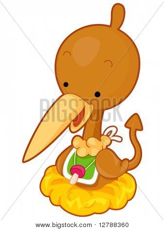 Um bonito bebê Pterodactyl vestindo um babador com uma chupeta pendurada de seu pescoço - vetor