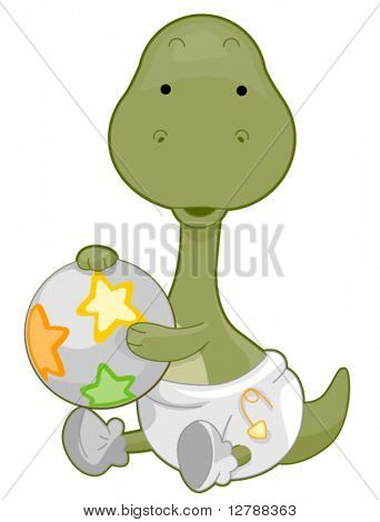 A Cute Baby Brontosaurus Wearing a Diaper and Holding a Ball - Vector
