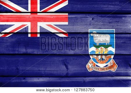 Flag Of Falkland Islands, Painted On Old Wood Plank Background