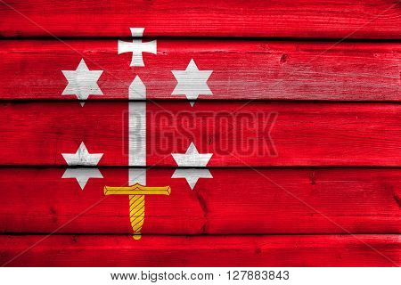 Flag Of Haarlem, Painted On Old Wood Plank Background