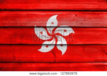Flag Of Hong Kong, Painted On Old Wood Plank Background
