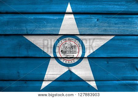 Flag Of Houston, Texas, Painted On Old Wood Plank Background