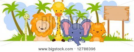 Safari Animal Banner - Vector