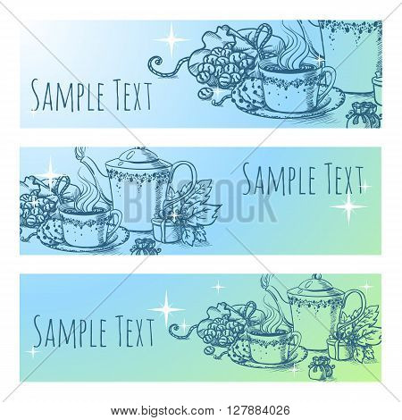 vintage tea vector. tea banner. beautiful hand drawn tea illustration