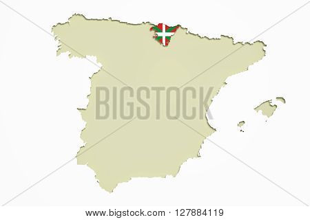 3d rendering of map of Basque Country and Spain with flag on background.