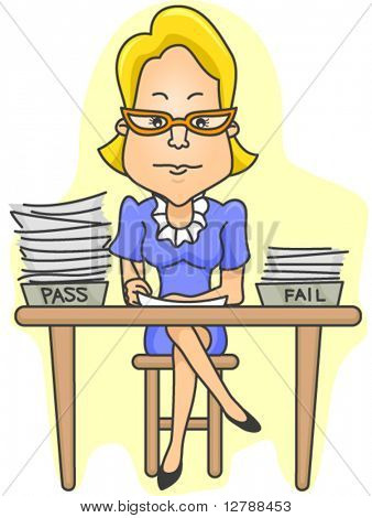 A Serious-looking Teacher Checking Test Papers - Vector