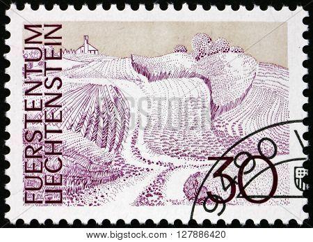 LIECHTENSTEIN - CIRCA 1973: a stamp printed in Liechtenstein shows Fields Schellenberg circa 1973