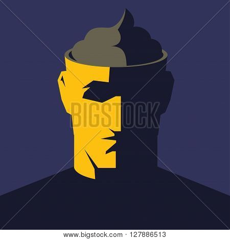 Male open head with big poop inside. Public or media manipulation concept vector illustration.