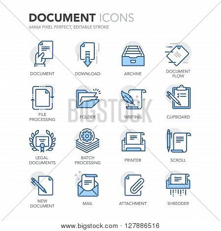 Simple Set of Document Related Color Vector Line Icons. Contains such Icons as Batch Processing, Legal Documents, Clipboard, Download, Document Flow and more. Editable Stroke. 64x64 Pixel Perfect.