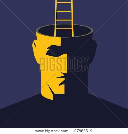 Getting out of myself. Male open head with ladder. Escape concept vector illustration.