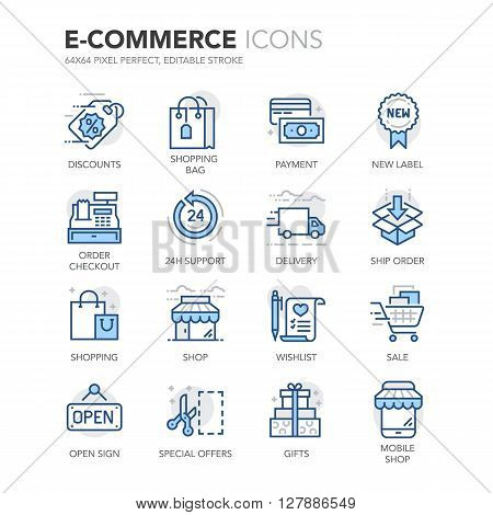 Simple Set of E-Commerce Related Color Vector Line Icons. Contains such Icons as Discounts, Shop, Mobile Shop, Special Offer, Sale, Shopping and more. Editable Stroke. 64x64 Pixel Perfect.