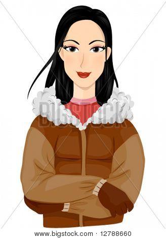 Eine lächelnde Eskimo, gekleidet in Winterkleidung Standing with Arms gekreuzt - Vektor