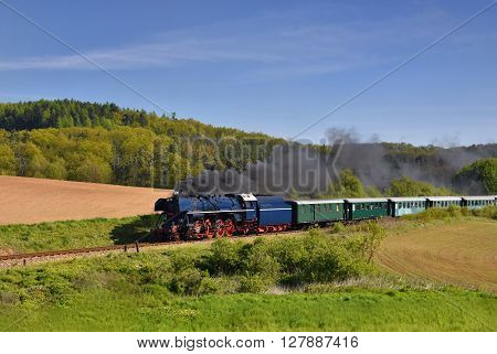 Historic Steam Train. Specially Launched Czech Old Steam Train Trips And For Traveling Around The Cz