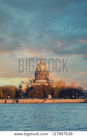 View of the Neva river and St Isaac's Cathedral. St. Petersburg Russia