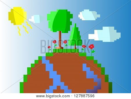Illustration of a Happy Earth, sunny day, green peace