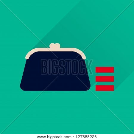 Flat icon with long  shadow coin purse