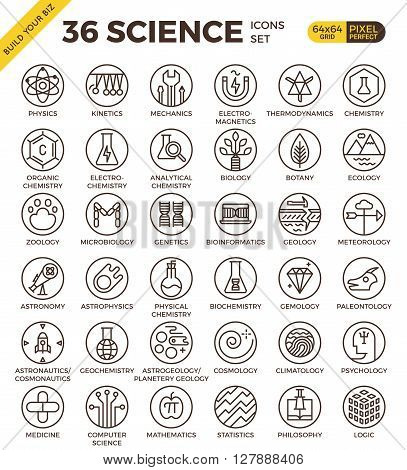 Science Education Badge Pixel Perfect Outline Icons