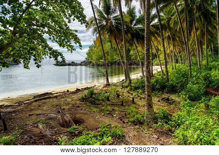 Barracuda beach on Kadidiri island. Togean Islands or Togian Islands in the Gulf of Tomini. Central Sulawesi. Indonesia