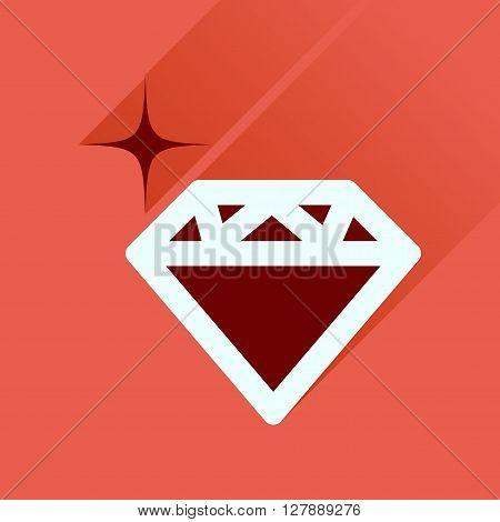 Flat icon with long  shadow diamond shiny