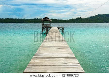 Wooden Dock On Togean Islands. Indonesia.