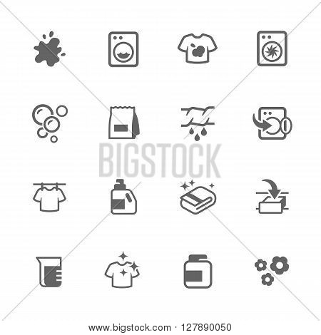 Simple Set of Laundry Related Vector Icons. Contains Such Icons as Detergent, Spot, drying and More.