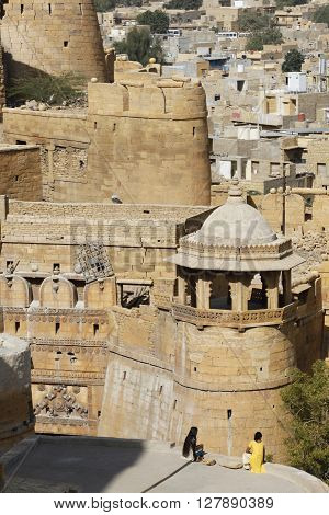 view of the city of Jaisalmer to the fortress wall, photographed in November 2009 in India