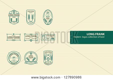 Set of vector beer outline logos, badges. Line art. Green