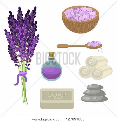 Spa salon relaxation accessories. Lavender flowers, oil bottle, sea salt in a bowl, set of twisted towels, soap and pebble stones for massage. Spa healthcare set.