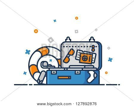 Time to travel concept. Suitcase with clothes, passport, tickets, glasses, slippers and lifebuoy. Tourist luggage. Preparation for the journey. Flat outline vector icon illustration.