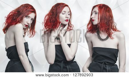redhead young woman conceptual portrait triptych on white baloon background