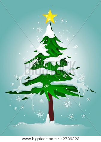 Christmas Design Featuring a Snow-covered Pine Tree