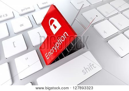 keyboard enter key revealing underpass ladder encryption 3d illustration