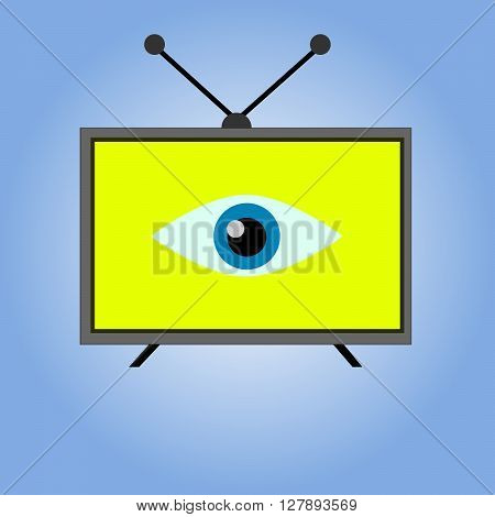 Simple colorful TV icon on blue background. Sign of TV - vector illustration. Flat icon of tv with eye inside.