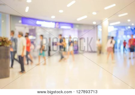 Blur Image, People In Shopping Mall.