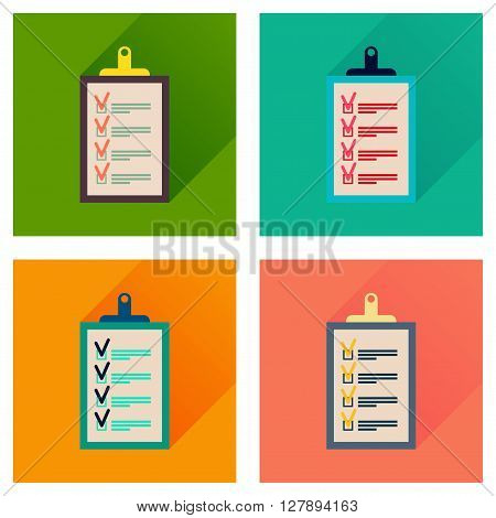 Concept flat icons with long  shadow Business questionnaire