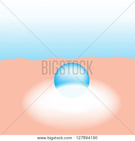 Moisturizer absorb on the human skin with white glow light absorption infographic vector