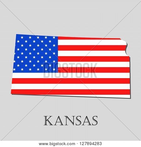 Map of the State of Kansas and American flag illustration. America Flag map - vector illustration.