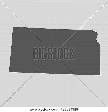 Black map of the State of Kansas - vector illustration. Simple flat map State of Kansas.