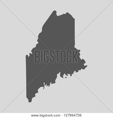 Black map of the State of Maine - vector illustration. Simple flat map State of Maine.