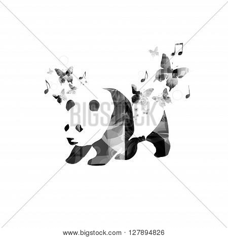 Black and white panda with butterflies vector design