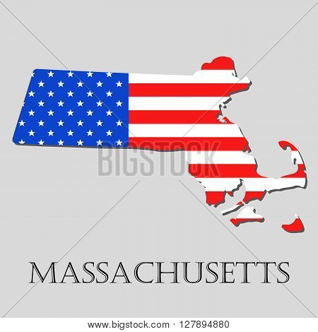 Map of the State of Massachusetts and American flag illustration. America Flag map - vector illustration.