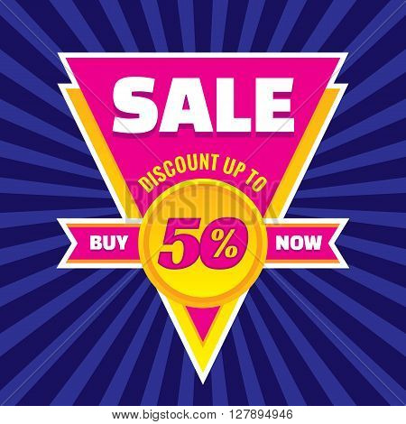 Sale discount up to 50% vector banner concept illustration. Buy now. Sale vector layout. Sale triangle badge with ribbon. Discount sticker.