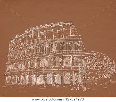 Drawing Roman Colosseum chalk on a brown background