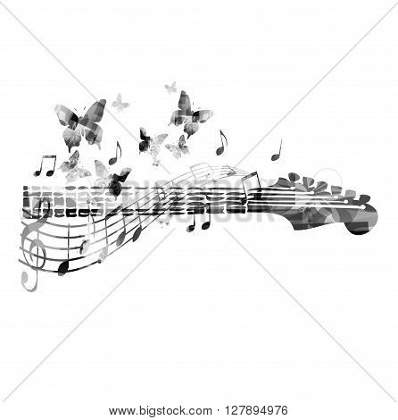 Vector illustration of guitar with music notes