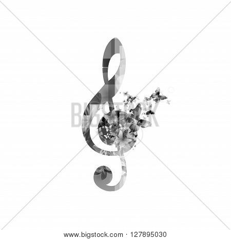 Vector illustration of G-clef with music notes