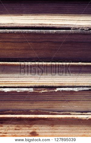 Stack of rarity book background. Macro photo