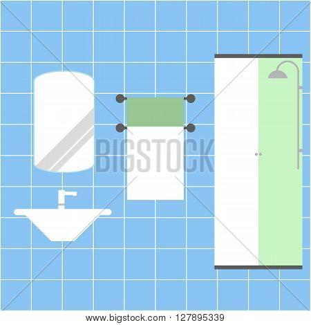 Bathroom vector illustration. Sink. Toilet. Shower. Towel