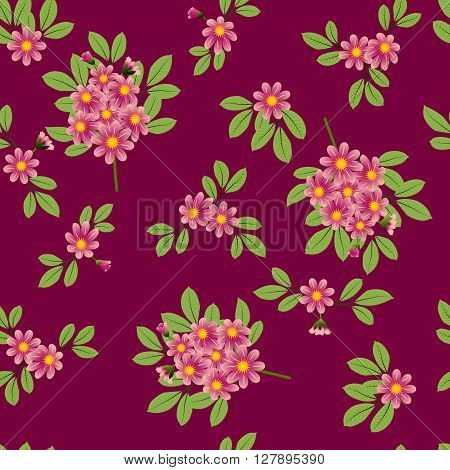 Seamless pattern, bouquets of pink flowers with leaves on burgundy background, vector illustration